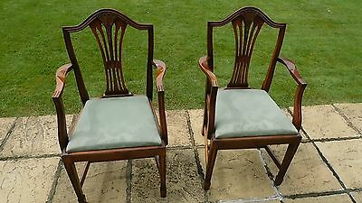Edwardian dining chairs pair ornate carving -