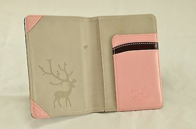 Brown And Pink Bifold Faux Leather Passport Holder Cover Wallet