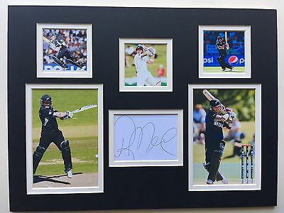 """New Zealand Cricket Brendon McCullum Signed 16"""" X 12"""" Double Mounted Display"""