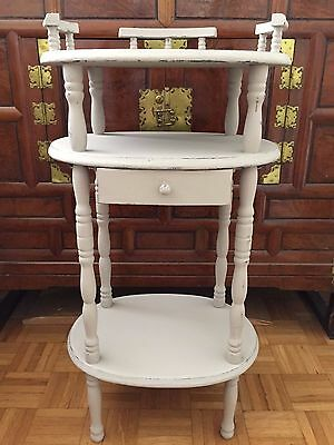 Lovely Victorian Mahogany 3 Tier Whatnot Shabby Chic Chalk Painted