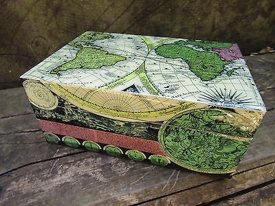 Fair Trade Hand Carved Made Wooden Antique Map Jewellery Box Chest Case Holder