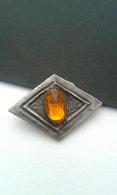 Antique Jewellery-Pewter Ruskin? Brooch With Amber Glass.handmade Arts & Crafts.