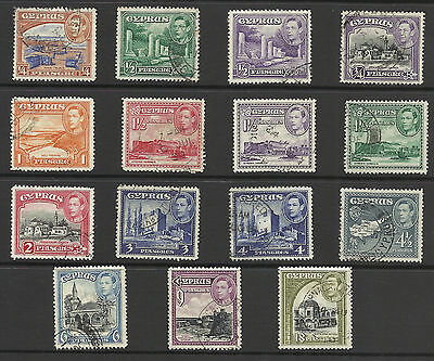 Cyprus - KGVI stamps - Used lot of 15 stamps