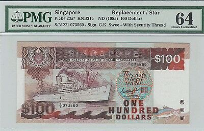 Singapore $100 Ship  Replacement/ Star  Banknote Uncirculated Prefix Z1 PMG 64