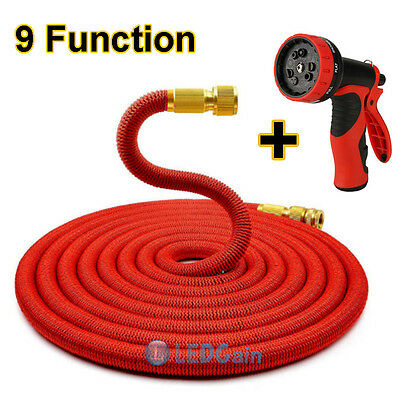 25FT Expanding Flexible Garden Water Hose Pipe with Spray Nozzle Brass Connector