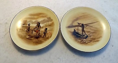 Vintage pair of pretty small plates/dishes depicting Aboriginal scenes