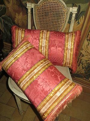 Matching Pair of Stunning French Chateau Silk Pillows/Cushion....1880s