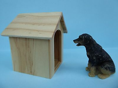 Dog & wooden kennel, for the  doll's house 1/12th scale