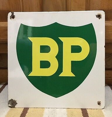 British Petroleum BP Pump Sign Plate Gas Oil Advertising Porcelain Vintage