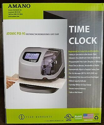 Amano Pix-95 Electronic Time Clock  Punch Card Machine