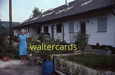 35mm Slide 1980 Europe Rome Italy Spain ? Woman Pretty Blue Dress House Motel ?