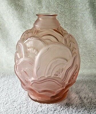 Vintage Art Deco Moulded Satin Pink CARRILLO style VASE - France