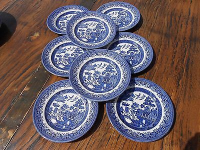 "8 Vintage Churchill Staffs Blue White Willow 6.5"" Plates"