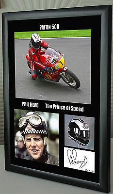 "Phil Read Isle of Man TT Motor Cycle Framed Canvas Signed ""Great Gift"" #1"