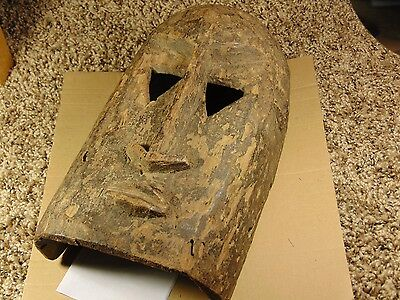 "Old Tribal Used African Dogon Mask 12"" Long Face Triangle Eyes Carved Wood Ears"