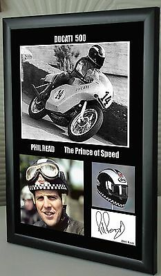 "Phil Read Isle of Man TT Motor Cycle Framed Canvas Signed ""Great Gift"" #3"