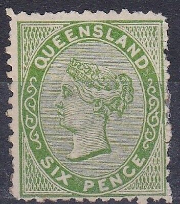1879 Queensland 6 Pence  Yellow Green Sideface MLH Cat 160 pnds