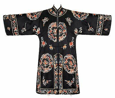 Vtg COUTURE c.1920's Black Silk Multicolor Floral Chinese Embroidered Robe OSFM
