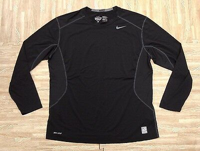 Nike Pro Combat Dri-Fit Long Sleeve Black Athletic Shirt ~ Men's XL Fitted ~ LS