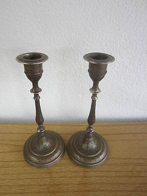 Beautiful Pair of Small Antique Brass Bronze Candlesticks Candle Holders