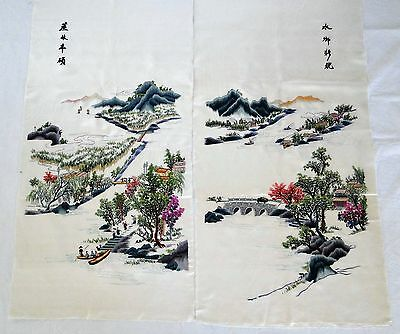 Vintage Chinese Silk Hand Embroidery TWO Panels Wall Hanging Pictures