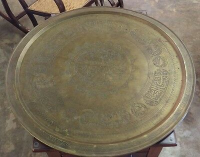 """Antique Persian Arabic Middle East Brass Tray Platter Charger 28"""""""