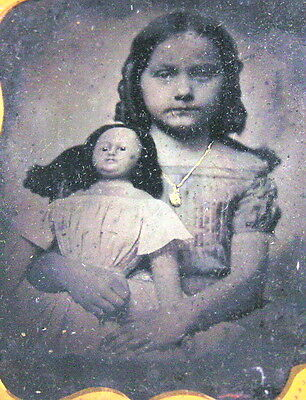 Antique Photo Photograph Child Girl w/ Doll Ambrotype 9th Ninth Plate Locket
