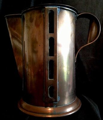 Vintage ARTS & CRAFTS MISSION STYLE GLASS & COPPER PITCHER Quirky!
