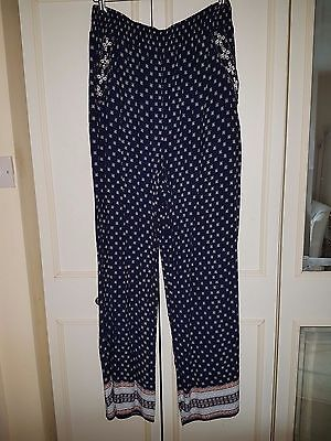 Women's Summer Wide Leg Drapey Embroidered Trousers 2 Pockets size 12