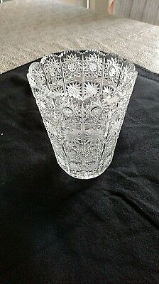 Antique Brilliant Leaded Crystal Cut Glass Vase