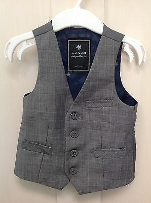 Boys grey checked 12-18 months pageboy party waistcoat from Next