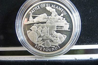 Battle Of El  Alamiein Silver 5 Pound Coin Gibraltar 2004