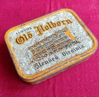 VINTAGE LLOYDS OLD HOLBORN BLENDED VIRGINIA 2 oz TOBACCO TIN CONTAINER.