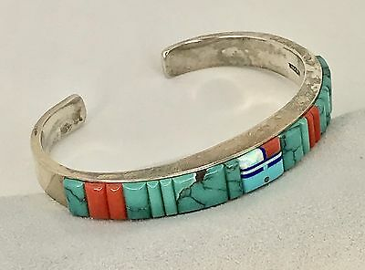 Sterling Cuff Bracelet with Turquoise & Coral Inlay –  Wilbert Manning