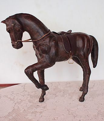 Vintage Brown Leather Horse Figure Sculpture With Glass Eyes