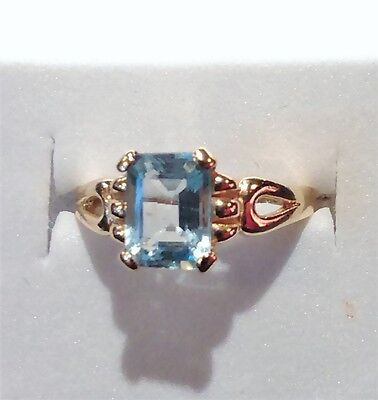 9k Gold 9ct solid gold  blue topaz ring size N