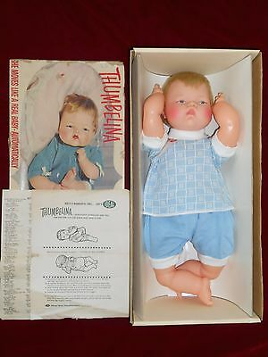 """Blonde Thumbelina 19"""" Doll Ideal Complete All Original in Box Excellent Works"""