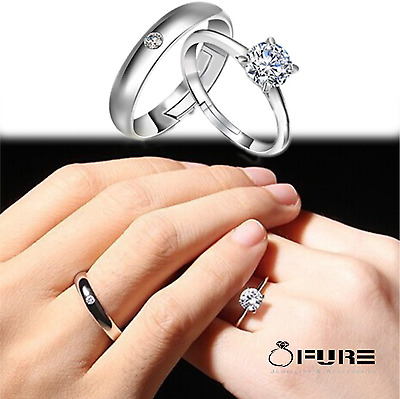 Fashion Rhinestones Sterling Silver-plated  Adjustable Couple Finger Rings