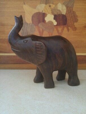 Vintage Carved Iron Wood Wild Elephant Animal Sculpture