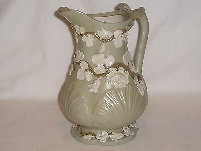 "Antique Villeroy & Boch Pitcher # 331 - Green / White Floral - 8"" Tall, Perfect!"