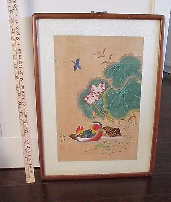 Antique Chinese Or Japanese Landscape Watercolor Painting Signed
