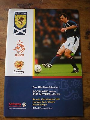Scotland v Netherlands Euro 2004 Play-Off Match programme 2003 SUPERB CONDITION