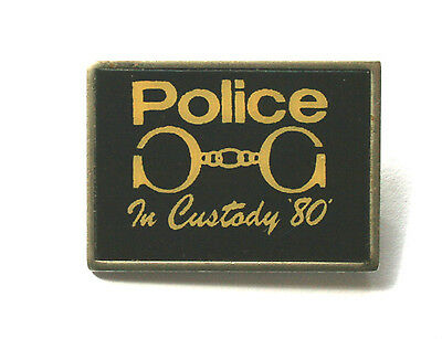 THE POLICE In Custody`80 Old/Vtg 1980 Metal Pin Badge Sting Tour Concert(not lp)