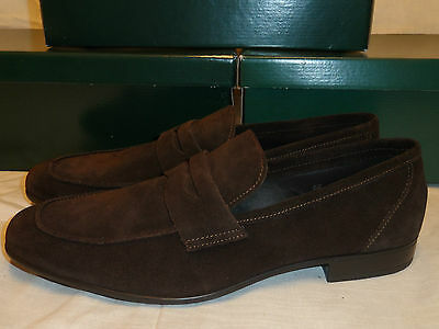 New Roland Cartier Mens Brown .  Suede Leather Loafer Shoes  Size 8 Uk / 42 Eur