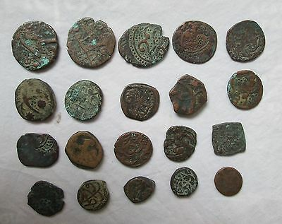 Small collection LOT of 20 ANCIENT Bronze coins islamic / India ? Need Research