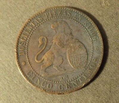 Spain 5 Centimos Coin Dated 1870 Om