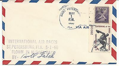 1966 International Air Races Midget Race Signed Bill Falck  With Stamps.
