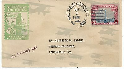 1929 National Air Races All Nations Day With Stamps.