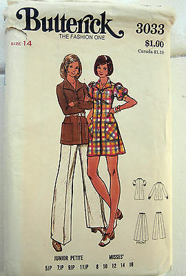 Oop Butterick 3033 a-line dress tunic trousers 1970s size 14 NEW