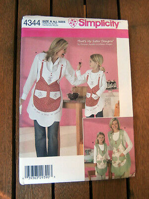 Oop Simplicity 4344 Mother Daughter kitchen aprons Thats my Sister Designs NEW